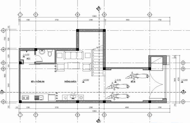 bản vẽ tầng 1 nhà phố hiện đại 5x14m