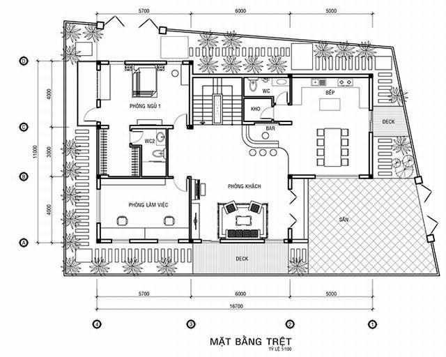bản vẽ mặt bằng tầng trệt biệt thự cổ điển 3 tầng 15x20m