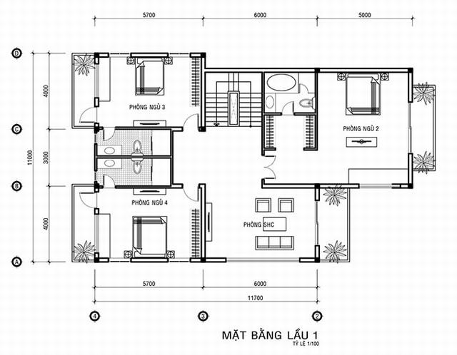 bản vẽ lầu 1 biệt thự cổ điển 3 tầng 15x20m