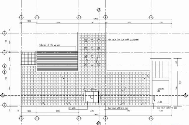 bản vẽ mặt bằng tầng mái nhà phố 3 tầng 5x14m