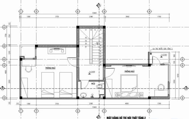 bản vễ thiết kế tầng 2 nhà phố 5x14m