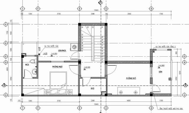 bản vẽ tầng 3 nhà phố 3 tầng 5x14m