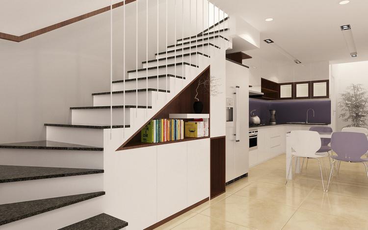 cầu thang nhà phố 4 tầng