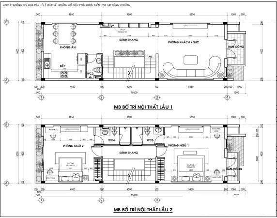 Mặt bằng tầng1,2 mẫu nhà phố 5 tầng đẹp có hầm gara diện tích 5x15m