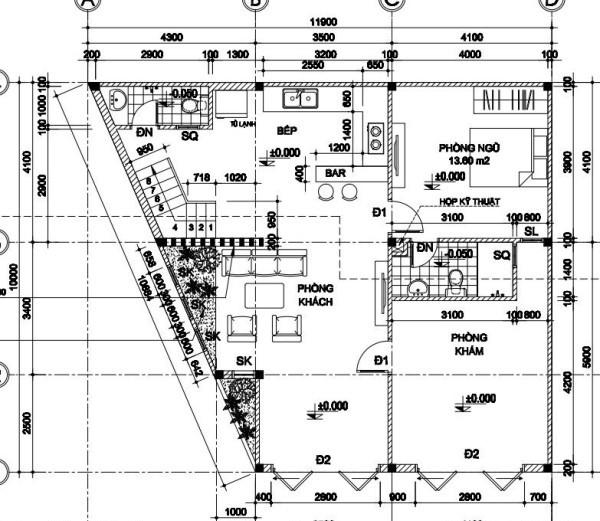 Mặt bằng tầng 1 mẫu biệt thự 2 tầng đẹp 10x12m