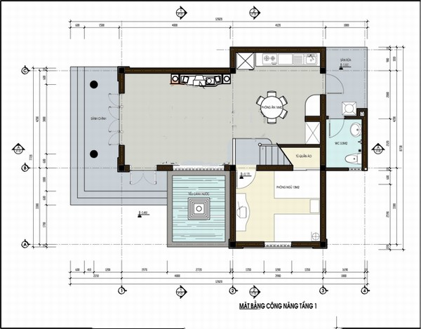 mặt bằng tầng 1 biệt thự 2 tầng 150m2