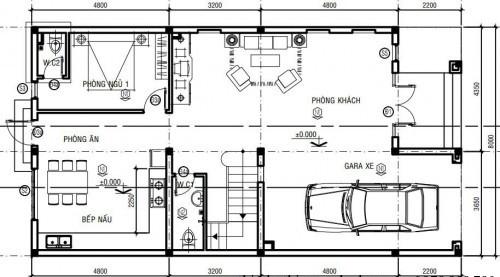 Mặt bằng tầng 1 biệt thự phố 3 tầng 8x16m