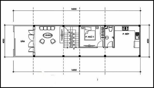 mặt bằng tầng 1 mẫu nhà ống 2 tầng hiện đại