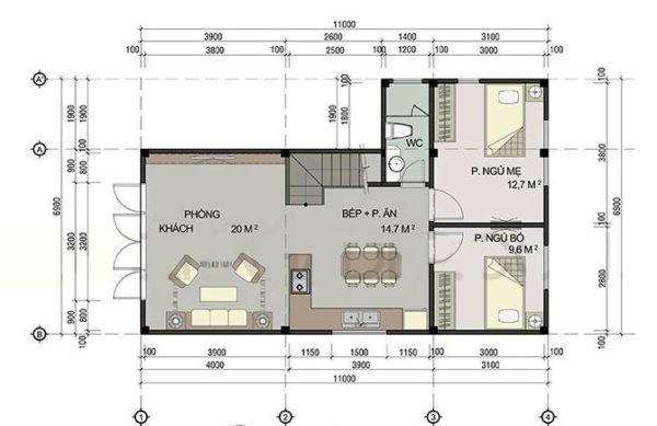 mặt bằng tầng 1 mẫu nhà phố 2 tầng 60m2