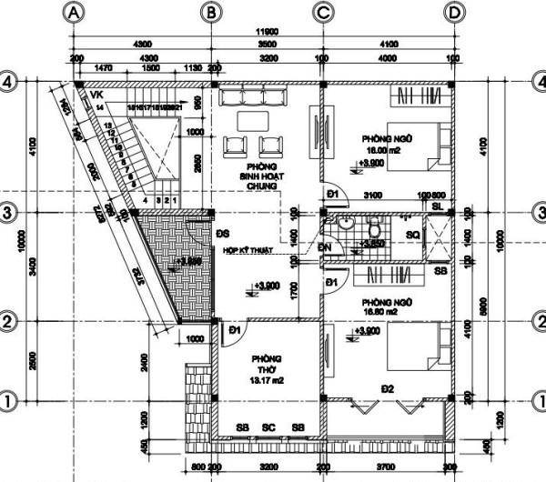 Mặt bằng tầng 2 mẫu biệt thự 2 tầng đẹp 10x12m
