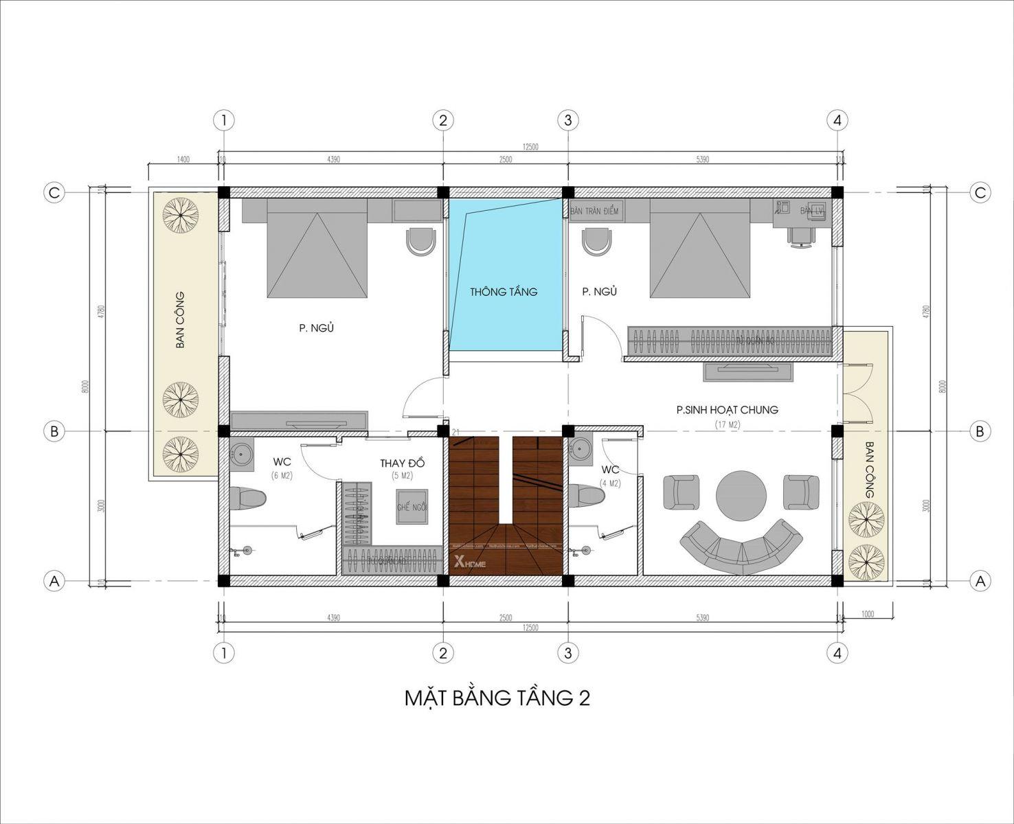 Mặt bằng tầng 2 biệt thự 3 tầng mái bằng