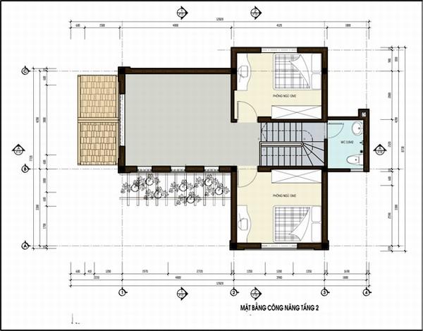 mặt bằng tầng 2 biệt thự 2 tầng 150m2