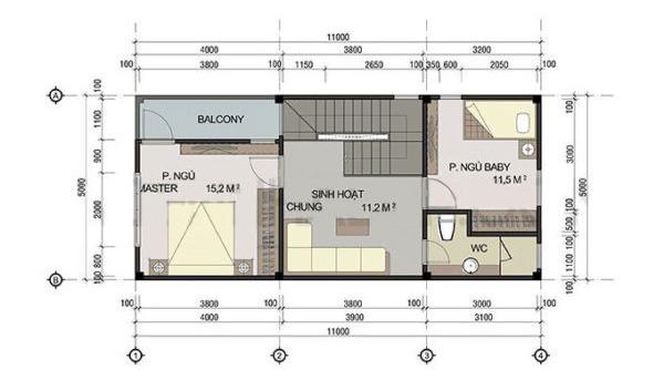 mặt bằng tầng 2 mẫu nhà phố 2 tầng 60m2