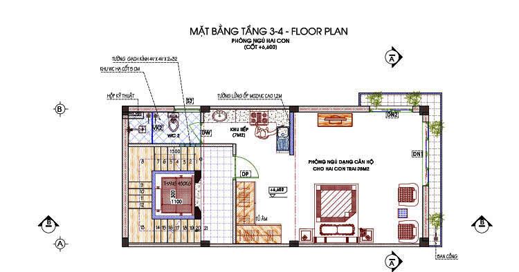 mặt bằng tầng 3 và 4 nhà phố 6 tầng