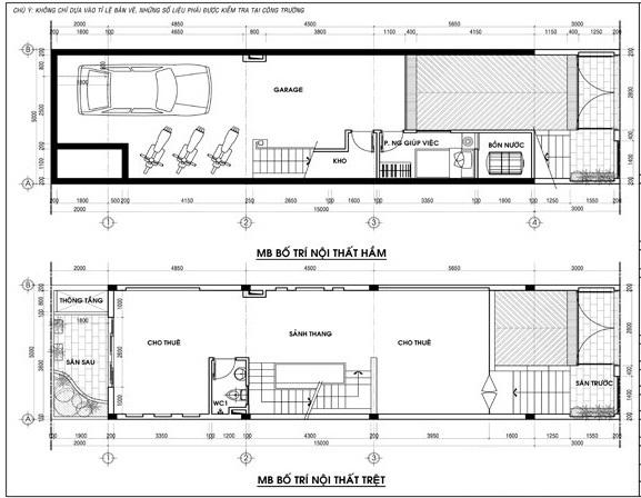 Mặt bằng tầng5, tầng mái mẫu nhà phố 5 tầng đẹp có hầm gara diện tích 5x15m