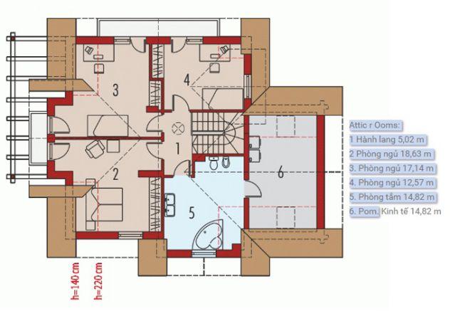 mặt bằng tầng lửng mẫu nhà cấp 4 đẹp tường ốp bằng gỗ