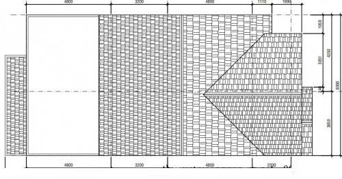 Mặt bằng mái biệt thự phố 3 tầng 8x16m