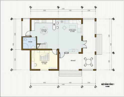 Mặt bằng tầng 1 mẫu nhà cấp 4 kiểu biệt thự mini