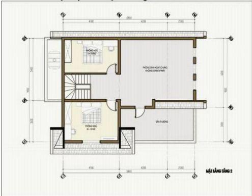 Mặt bằng tầng 2 mẫu nhà cấp 4 kiểu biệt thự mini