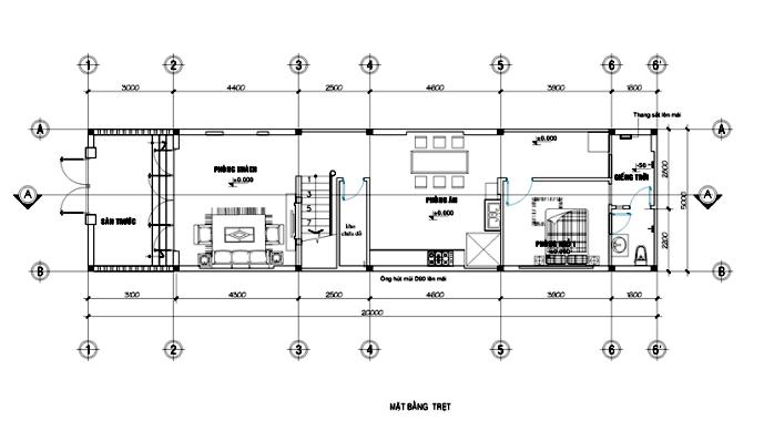 mặt bằng trệt mẫu nhà phố 2 tầng