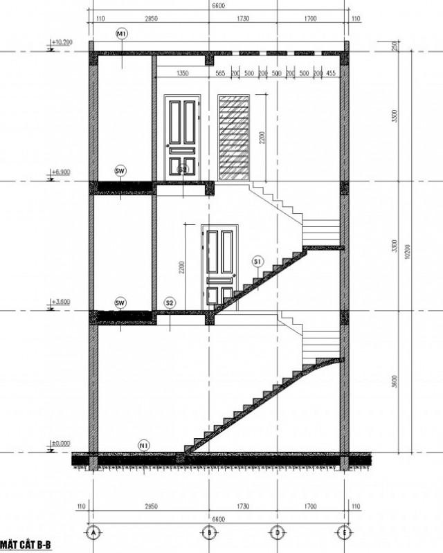 mặt cắt nhà phố 3 tầng 5x14m