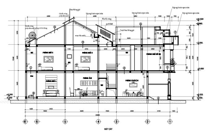 mặt cắt mẫu nhà phố 2 tầng