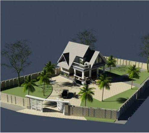 Phối cảnh tổng thể mẫu nhà cấp 4 kiểu biệt thự mini
