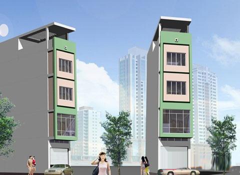 Phối cảnh mẫu nhà phố 5 tầng đẹp có hầm gara diện tích 5x15m