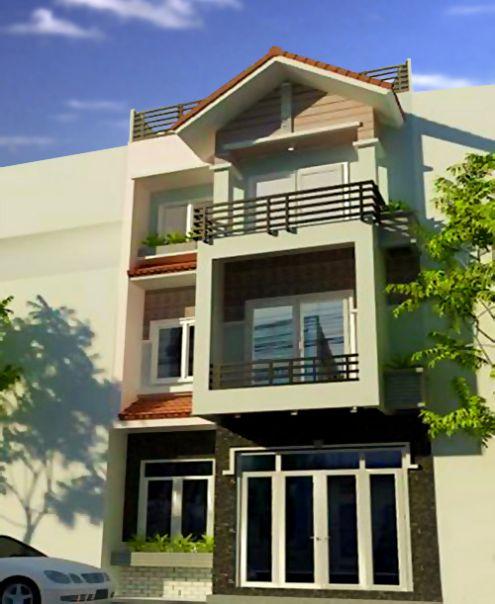 Phối cảnh mẫu nhà phố 3 tầng đẹp hiện đại
