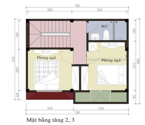 Mặt bằng tầng 2,3 mẫu nhà phố 3 tầng đẹp hiện đại