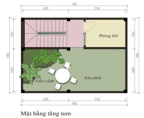Mặt bằng tầng tum mẫu nhà phố 3 tầng đẹp hiện đại
