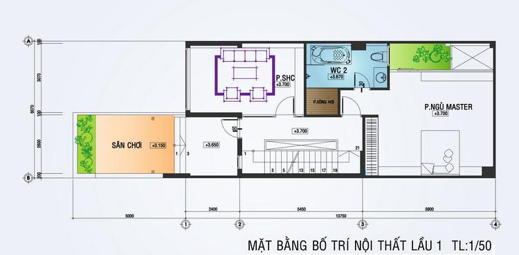 mặt bằng lầu 1 nhà phố 4 tầng
