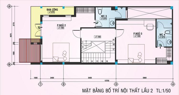 mặt bằng lầu 2 nhà phố 4 tầng