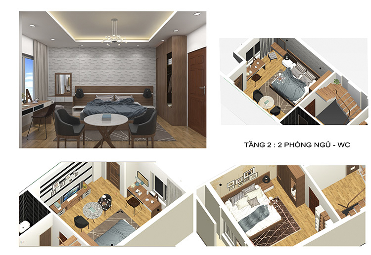nội thất tầng 2 nhà phố 3 tầng