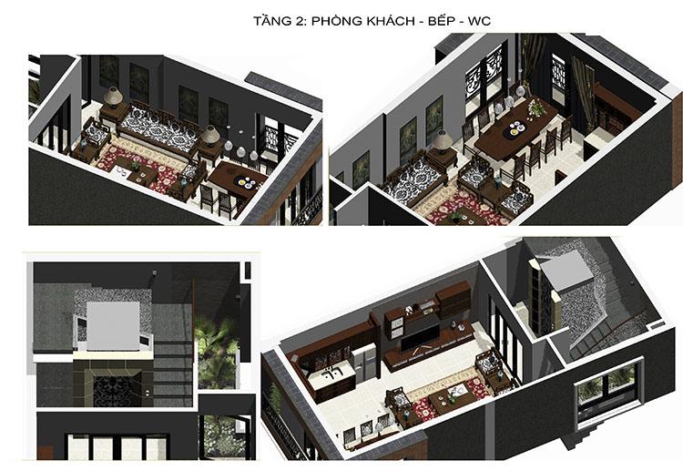 nội thất tầng 2 nhà phố 6 tầng