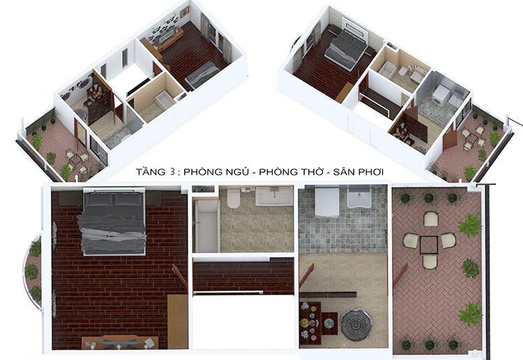 nội thất tầng 3 nhà phố 3 tầng