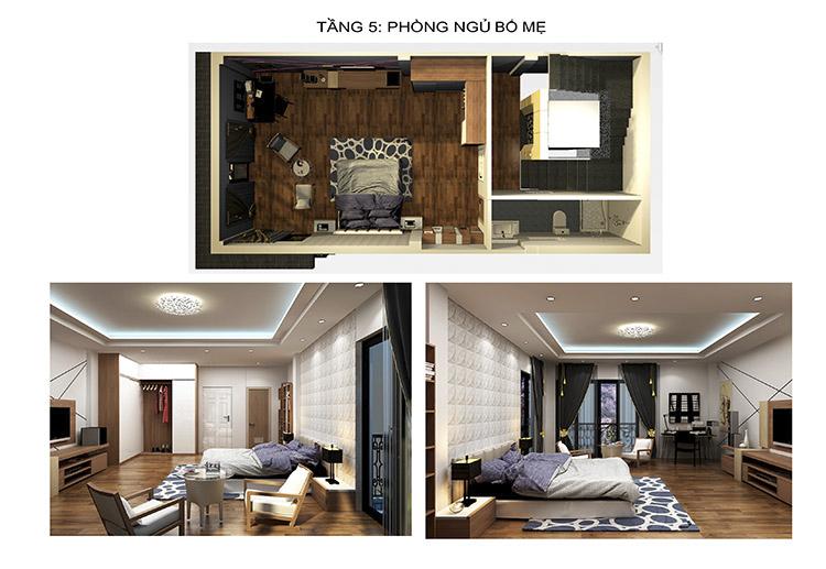 nội thất tầng 5 nhà phố 6 tầng