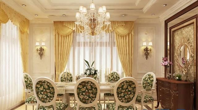 phòng ăn biệt thự cổ điển 3 tầng 15x20m