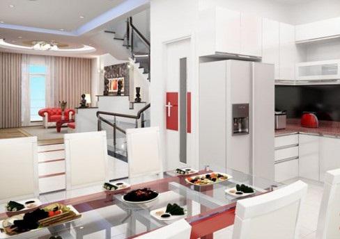 Thiết kế phòng bếp ăn đẹp mẫu nhà phố 5 tầng đẹp có hầm gara diện tích 5x15m