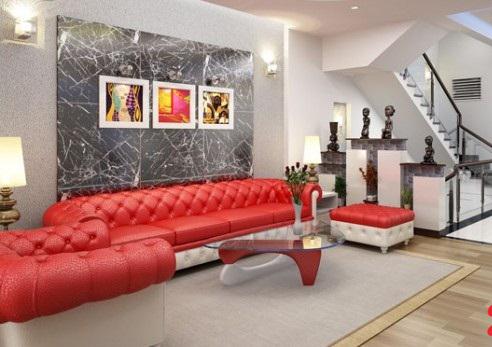 Không gian phòng khách mẫu nhà phố 5 tầng đẹp có hầm gara diện tích 5x15m