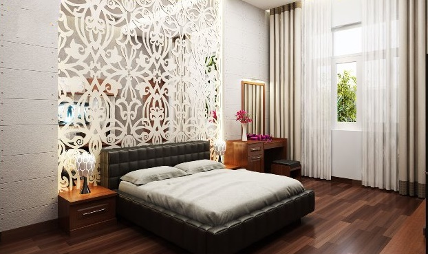 phòng ngủ gỗ biệt thự hiện đại 2 tầng 300m2