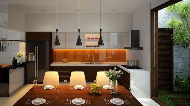 thiết kế nội thất bếp nhà phố 3 tầng 5x14m