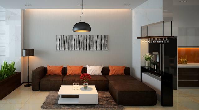 thiết kế nội thất phòng khách nhà phố 3 tầng 5x14m