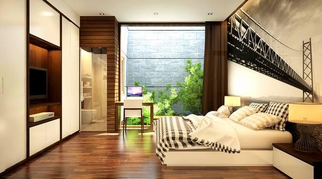 thiết kế nội thất phòng ngủ nhà ống 3 tầng 5x14m