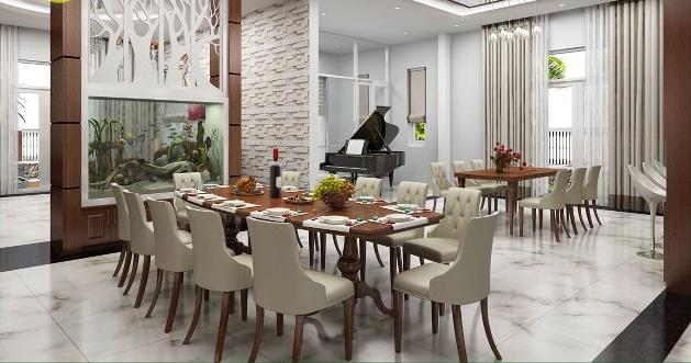 thiết kế phòng ăn biệt thự hiện đại 2 tầng 300m2