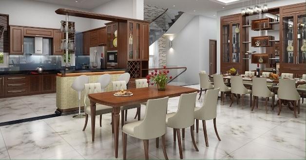 thiết kế phòng bếp biệt thự 2 tầng 300m2