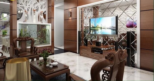 thiết kế phòng khách biệt thự tân cổ điển 2 tầng 300m2