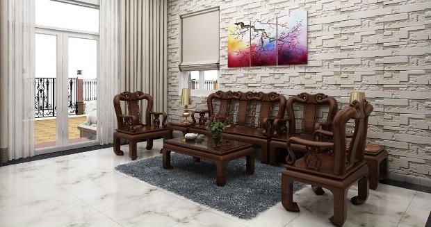 thiết kế phòng khách biệt thự 2 tầng 300m2