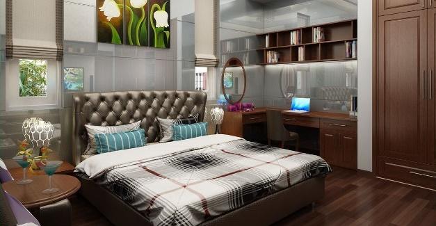 thiết kế phòng ngủ biệt thự hiện đại 2 tầng 300m2