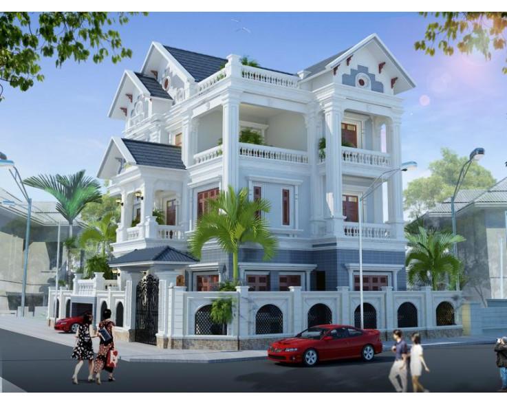 Mẫu biệt thự 3 tầng đẹp phong cách Tân cổ điển